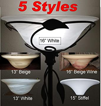 5 Styles 13 16 Wide Torchiere Glass Floor Lamp Shades Alabaster Frost White Beige Wine Swirls Stiffel Dish Bowl Lampshades Up Light Reflector Lighting Replacement Option 13 White Amazon Ca Electronics