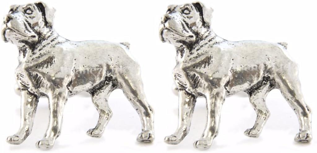 Rottweiler Inglés Gemelos de peltre en caja de regalo: Amazon ...