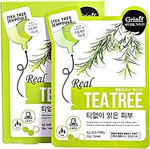 Grinif] Real Tea Tree Mask Pack (10 máscaras) 25 g - Las máscara de celulosa con extracto de tea tree Paquete de máscara coreana calmante, antimanchas y antiarrugas cosmetico coreanos: Amazon.es: Belleza