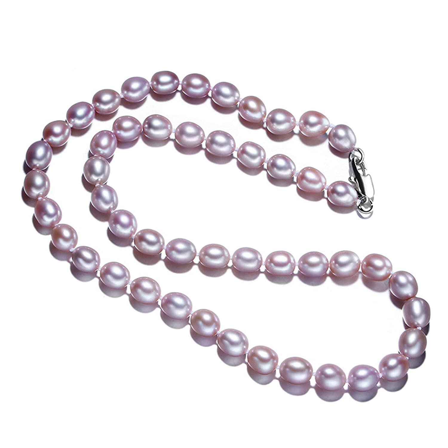 Aooaz Gold Plated Necklace Women Girls Droplet Pearl Necklace Purple Wedding 45CM