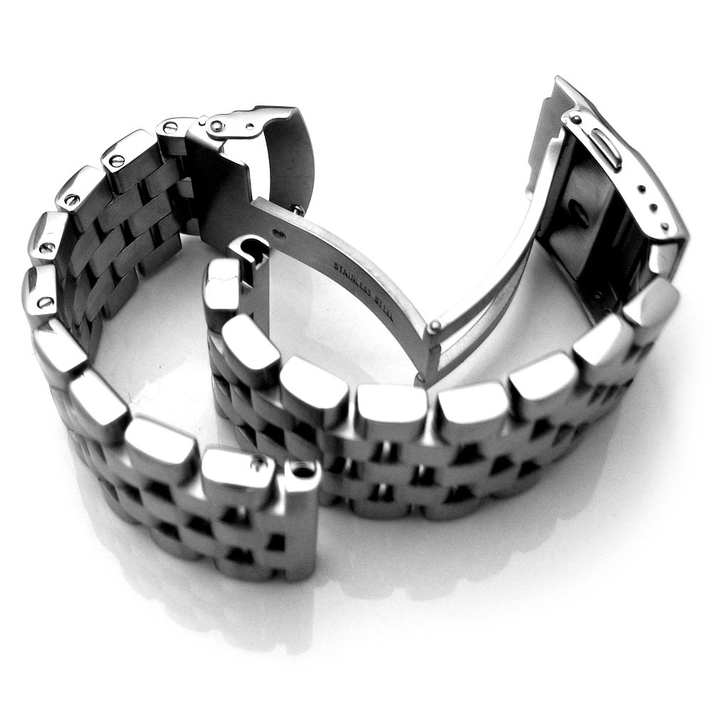 20mm Brushed Engineer Solid Link 316l Stainless Steel Watch Bracelet Band by 20mm Metal Band by MiLTAT (Image #5)