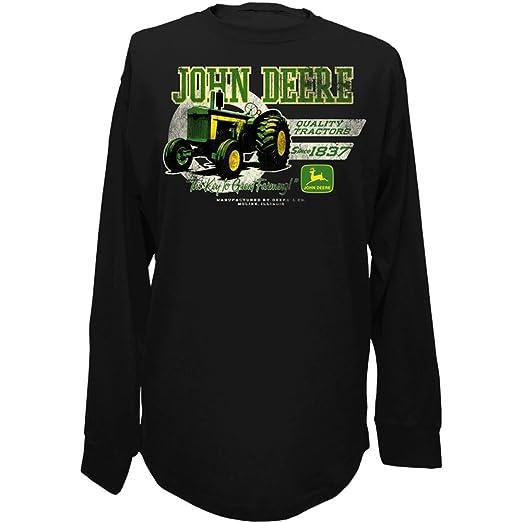 5ec207a4 Amazon.com: John Deere Mens Long Sleeve Screen Print Shirt-Black: Clothing