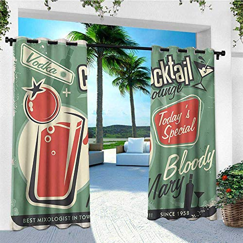 (leinuoyi Retro, Outdoor Curtain Ends, Nostalgic Poster Bar Art for Todays Special Famous Cocktail Bloody Drink and Vodka, for Gazebo W96 x L108 Inch Green Red)