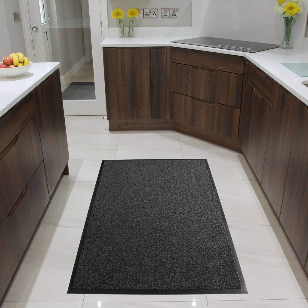 Grey Non Skid Washable Dirt Stopper Kitchen Hallway Mats 3' x 5' The Rug House Nova 50 Grey 90x150cm