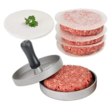 OVOS Aluminum Non-Stick Hamburger Press with 50 Free Patty Papers and Wood Handle