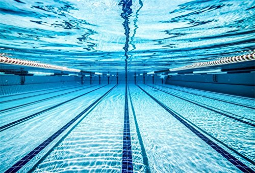 LFEEY 7x5ft Blue Swimming Pool Photography Backdrop Sports Theme Fitness Swim Competition Exercise Photo Background Men Boys Girls Adults Photo Studio Props
