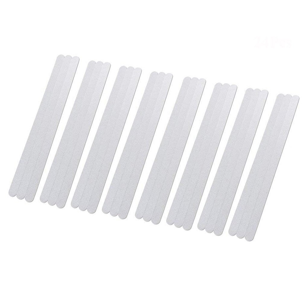 Trycooling 24pcs Non-Slip Safety Shower Treads Bath Stickers Anti-Slip Clear Strips Adhesive for Bathtubs Showers Stairs and Floors