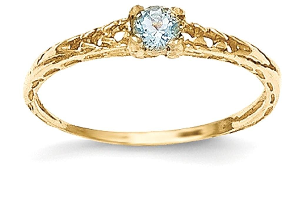 ICE CARATS 14k Yellow Gold 3mm Blue Aquamarine Birthstone Baby Band Ring Size 3.00 March Fine Jewelry Gift Set For Women Heart