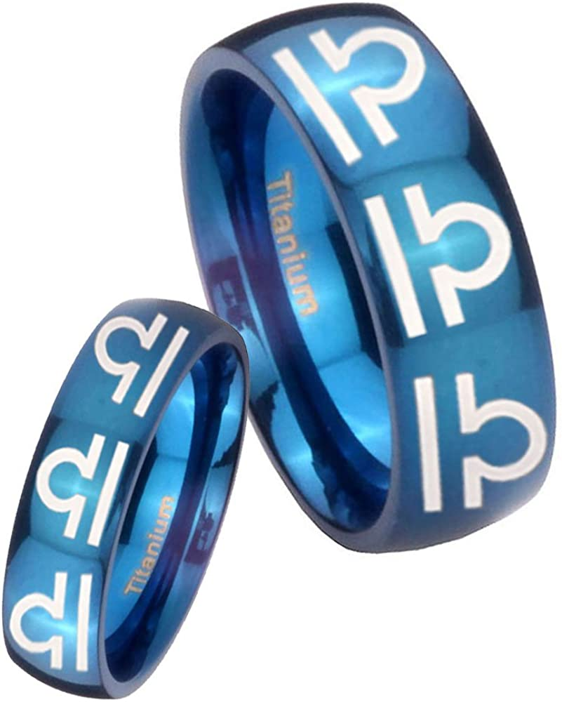 Blue IP Titanium 8 Libra Horoscope Dome Engraved Ring Size 4 to 13 6MM, 8MM