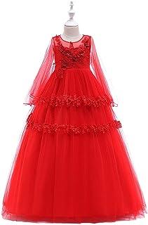 Mbby Vestito Damigella Bambine,3-8 Anni Vestiti di Carnevale per Bambini Principessa 3D Fiori Rose Eleganti Tulle Manica Lungo Abito per Ragazze