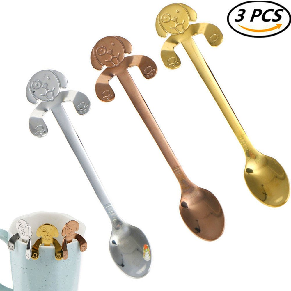 CosCosX 3 Pcs Stainless Steel Coffee Spoon Cute Puppy Dog Shape, Tea Soup Sugar Dessert Appetizer Seasoning Bistro Spoon, Hanging Cup Spoon Kitchen Gadget ROSEGOLD SILVER GOLDEN Maple Leaves