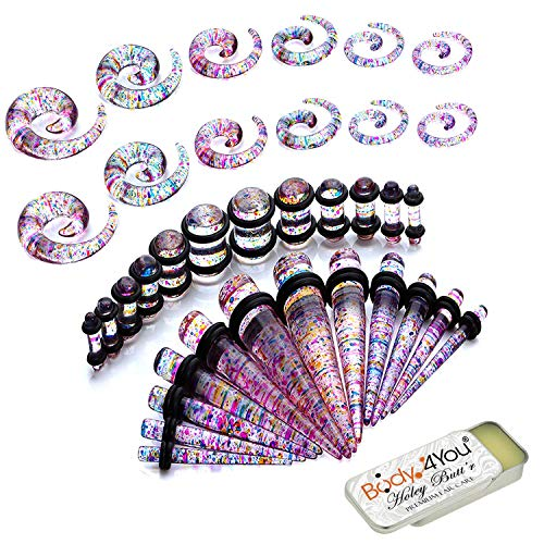 BodyJ4You 37PC Gauges Kit Ear Stretching Aftercare Balm 8G-00G Glitter Acrylic Spiral Taper Plug ()