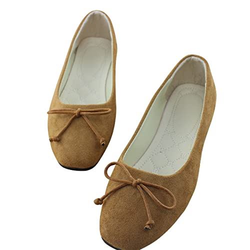 bd653c8d1 Image Unavailable. Image not available for. Color: VFDB Women's Suede Ballet  Flats Comfort Slip On Ballerina ...