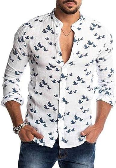 Camisas Hombre Hombre Primavera Verano Otoño Casual Hombre Botones con Estampado de Paloma Manga Larga Camisa Pura Lino Slim Top cómodas para Hombres Camisa: Amazon.es: Ropa y accesorios