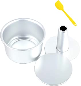 Cocaburra Angel Food Cake Pan, 6-Inch Cake Pans 3-Piece Set, Round Cake Pans and Tube Cake Pan 2-in-1 Removable Bottoms Set Nonstick Pound Cake Mold with Silicone Spatula
