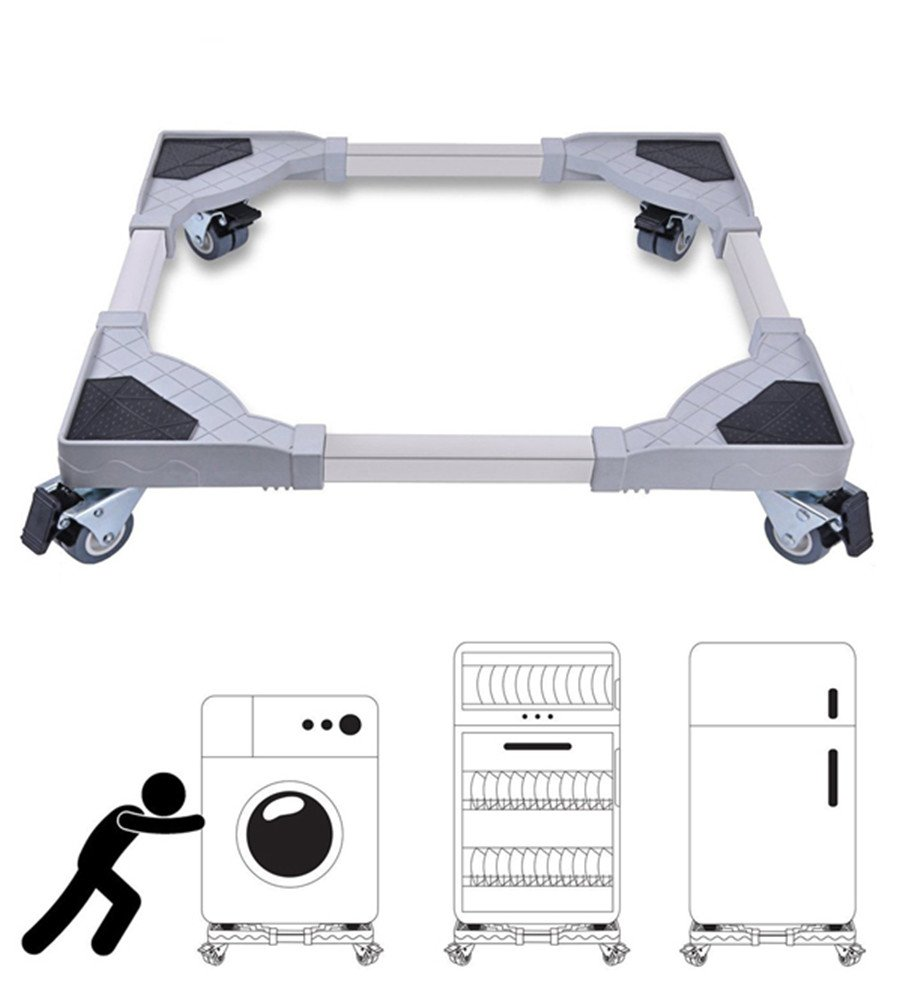 360 Degree Casters Mobile Stainless Steel Movable Base Frame Refrigerator Wheel Bracket Base Stand/Dolly/Roller For Washing Machine/Dryer/Refrigerator/Cabinet