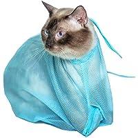 Blue Adjustable Multifunctional Cat Washing Bag Shower Mesh Bags Pet Nail Trimming Cat Grooming Bag Bath Bags Pet Nail Ear Cleaning Bag Durable