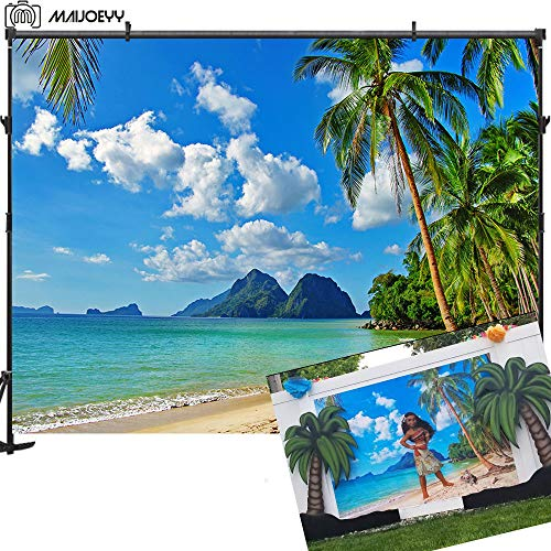 Maijoeyy 7ftx5ft Tropical Beach Photography Backdrop Hawaiian Backdrop Luau Party Photo Booth Backdrop Summer Beach Backdrop for Photoshoot Photography Props]()