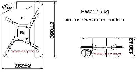 JERRY CAN, BIDÓN METALICO 10L NEGRO - HOMOLOGADO PARA EL TRANSPORTE DE GASOLINA - SPP/JC10N: Amazon.es: Bricolaje y herramientas