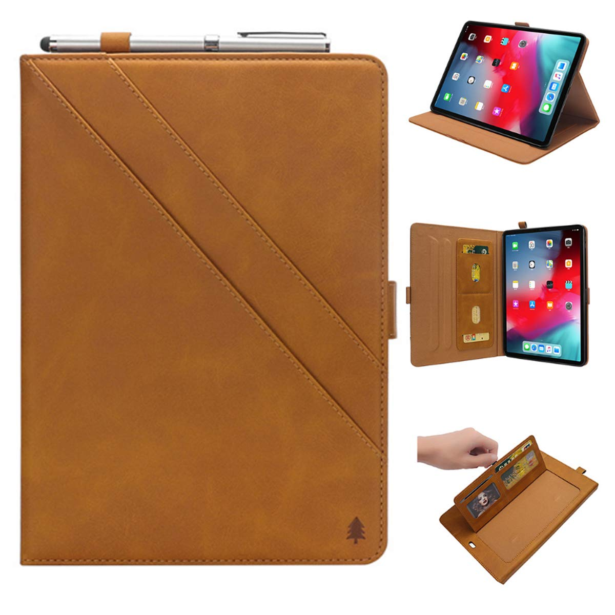 iPad 6th Generation Cases with Pencil Holder, Premium PU Leather Folio Case Soft TPU Back Protective Stand Cover with Card Slots for iPad 9.7 Inch 2018 (6th Gen) / iPad 9.7'' 2017 (5th Gen) –Khaki