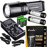 FENIX TK35 Ultimate Edition UE 2000 Lumen LED Tactical Flashlight with 2 X Fenix 18650 Li-ion rechargeable batteries, 4 X EdisonBright CR123A Lithium batteries, Charger bundle