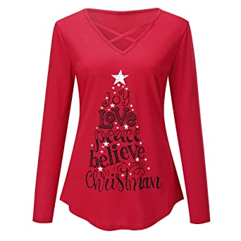 2a823a78 Womens Christmas Letter Print T-Shirt Tunic Tops AmyDong Sexy Criss Cross  Front V-Neck Long Sleeve at Amazon Women's Clothing store: