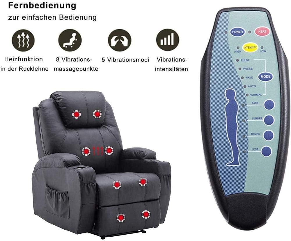 Ainice Poltrona per Massaggio Poltrona per Il Tempo Libero Marrone Poltrona riscaldata elettricamente con Altalena Vibrante