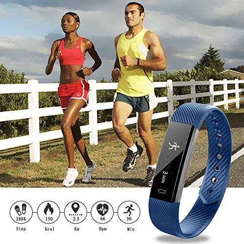 Fitness Tracker Watch,LOVK HR Heart Rate Fitness Tracker Pedometer Watch Bluetooth Waterproof Activity Health Tracker Smart Bracelet with Touch Screen USB Charging Step Counter for Women Kids,Blue