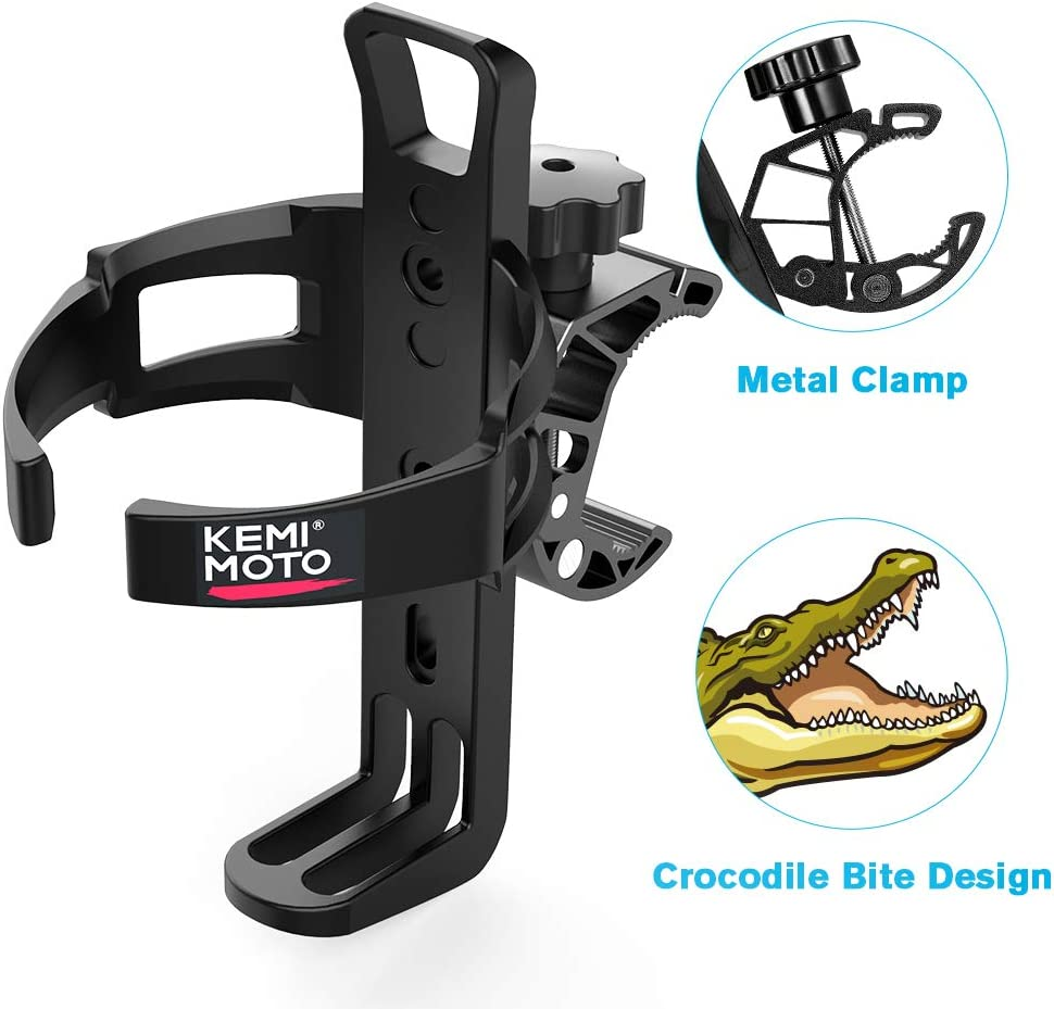 kemimoto ATV Cup Holder Metal Swivel Motorcycle Drink Holder Compatible with Harley Honda Suzuki Yamaha Can Am Rollator Walker Wheelchair Pushchair Bicycle Truck