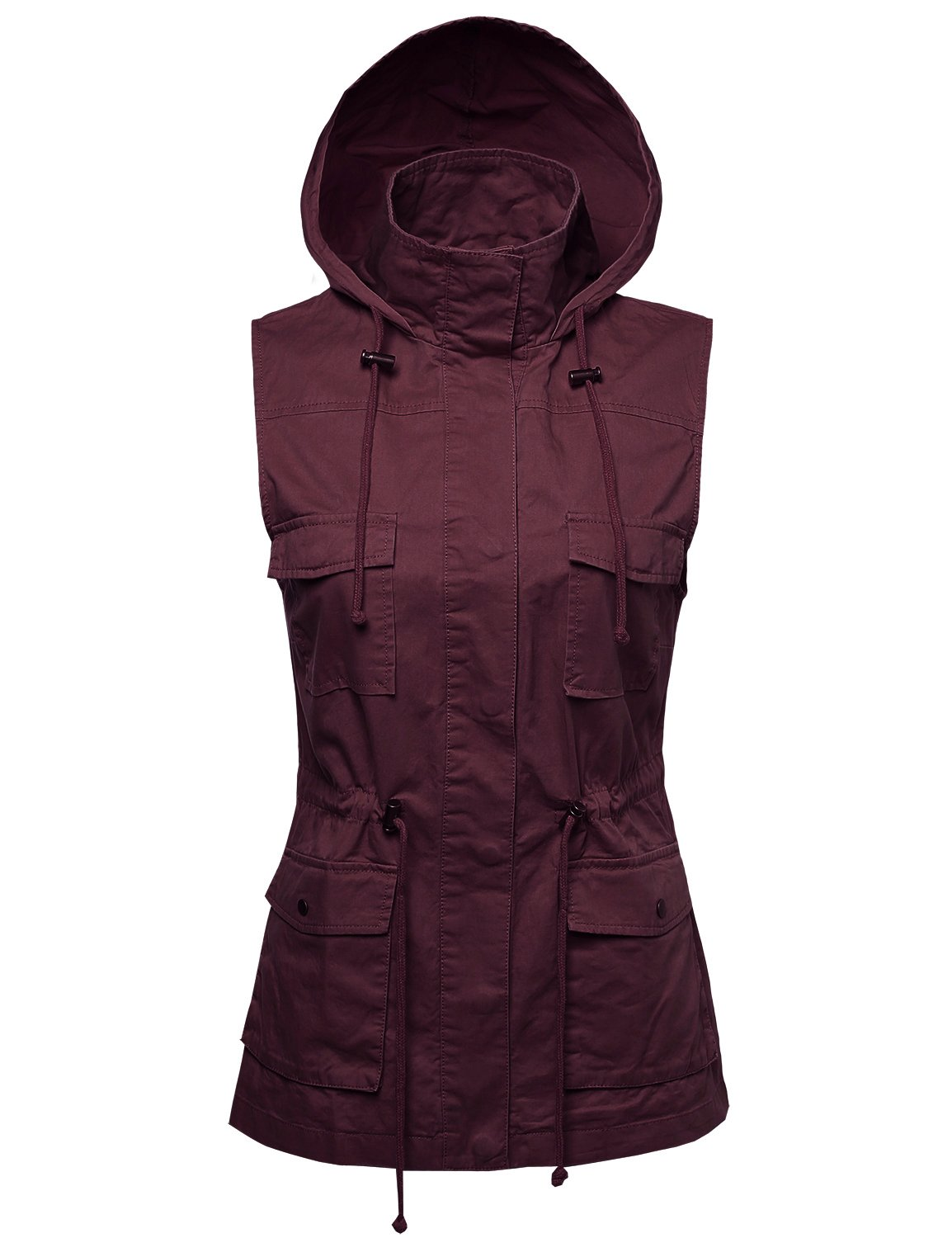 Made by Emma Sleeveless Safari Military Hooded Vest Jacket Wine L