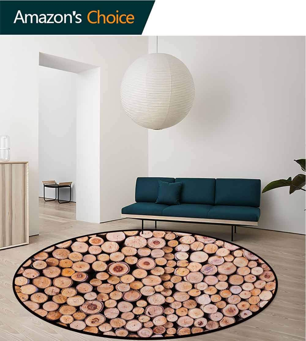 RUGSMAT Rustic Modern Washable Round Bath Mat,Mass of Wood Logs Forest Tree Ecology Industry Group of Cut Lumber Circle Stack Image Non-Slip Bathroom Soft Floor Mat Home Decor,Diameter-35 Inch