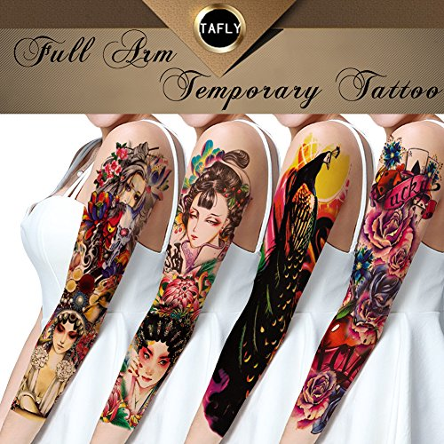 (TAFLY Extra Large Full Arm Temporary Tattoos-Flowers,Peking Opera,Peacock for Women 4)