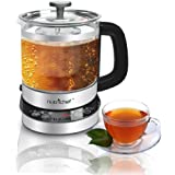 NutriChef Electric Tea Kettle Steeper [Water Boil Glass Kettle with Tea Infuser] Instant Heating & Quick Boiling | Adjustable Time & Keep Warm Settings | Stainless Steel | 1.7 Liters (PKTM15)