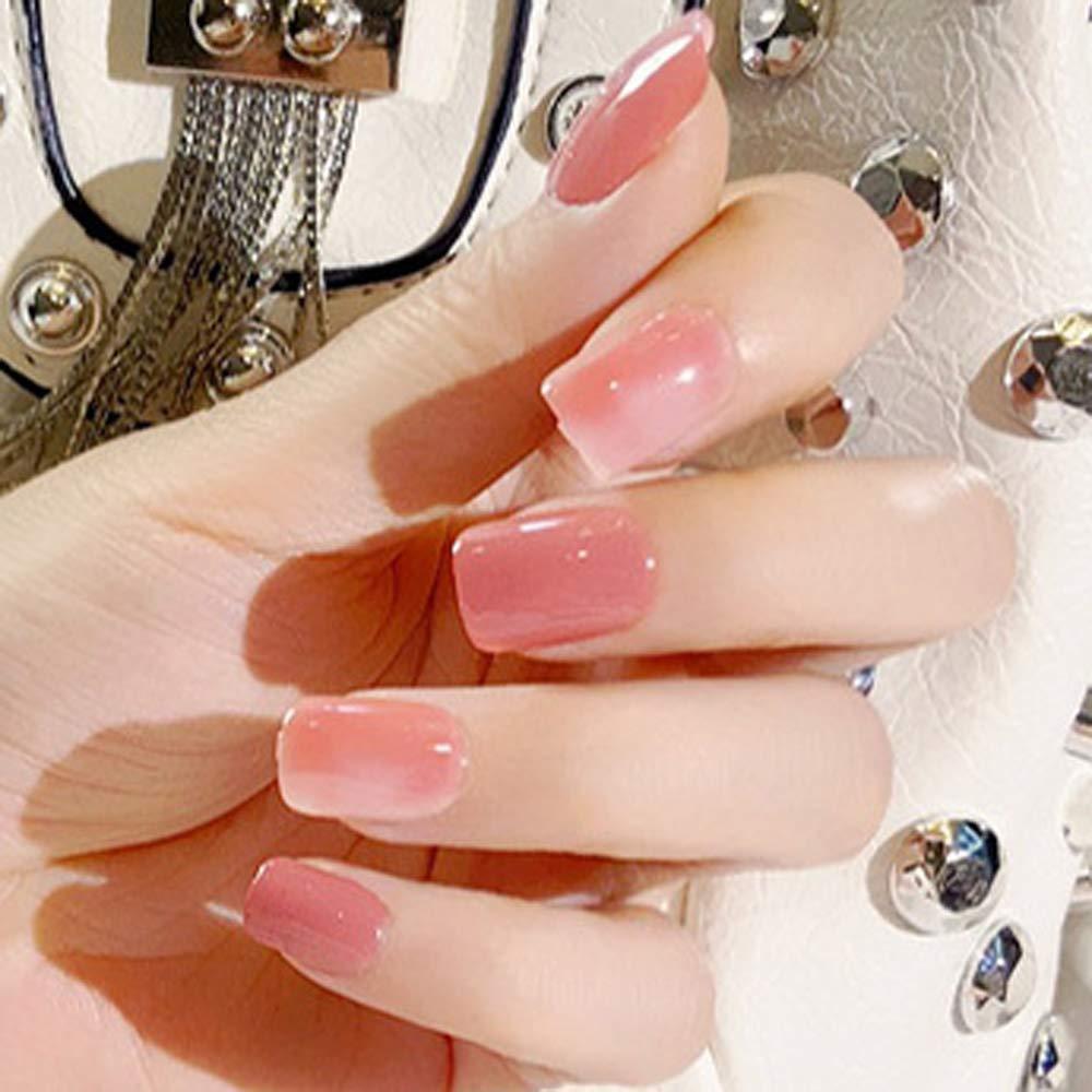 Aegenacess 24Pcs False Nails Short Square Fake Design Pink Nude Shiny Press  On Gel Nail Acrylic