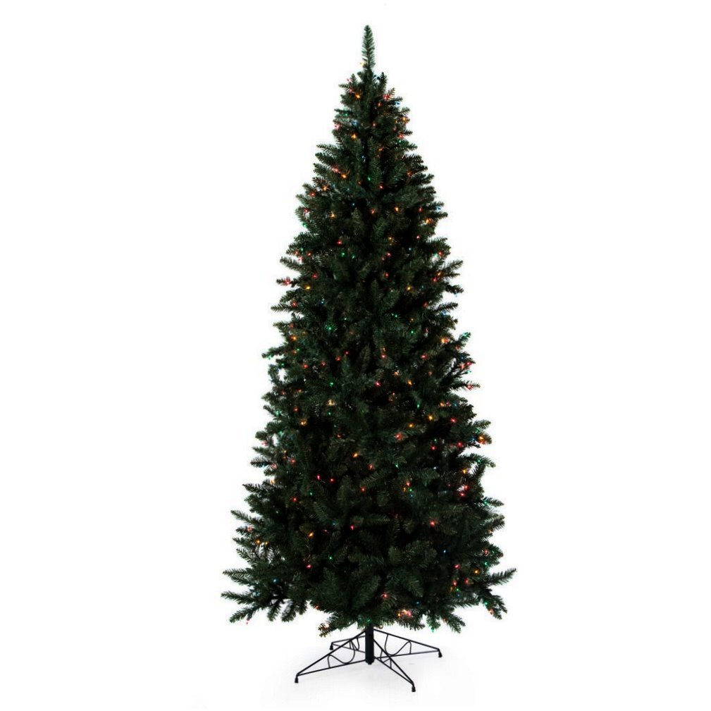 Artificial Christmas Tree. Fake Xmas Fir It's Green, Lush, Densely Foliage With Medium Spruce Shape Looks Natural & Neat. Great For Festive Mood, Indoor Holiday Season Party Decor. (7.5 Foot, Clear)