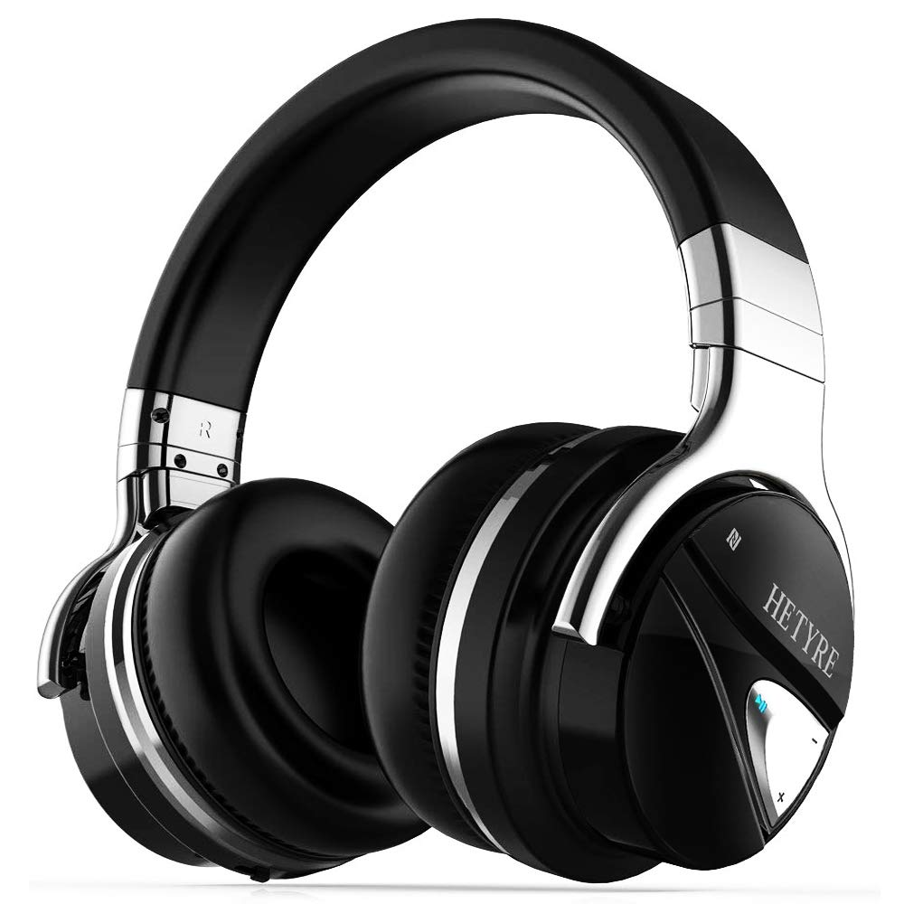 Over Ear Wireless Headphones, Hetyre HT9 Active Noise Cancelling Bluetooth Headphones w/Mic, Hi-Fi Deep Bass Comfortable Protein Earpads, 36 Hours Playtime, Best for Men Travel Work PC Cellphone