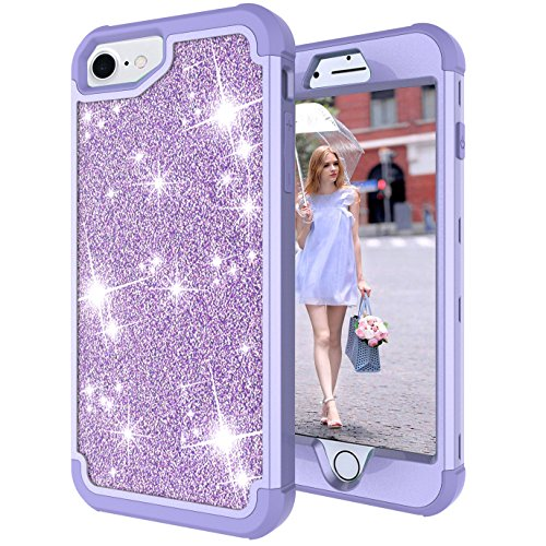 iPhone 6s Case, iPhone 6 Case, Ankoe 3D Luxury Glitter Sparkle Bling Shiny Hybrid Sturdy Armor Defender High Impact Shockproof Protective Cover Case for Apple iPhone 6/ 6S(4.7inch) (Purple) (Accent Plate Green 9')
