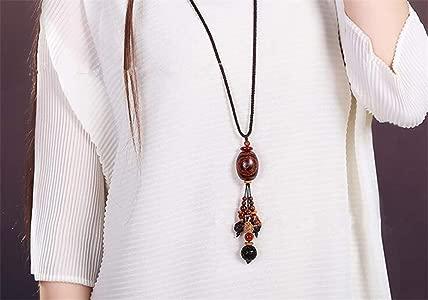 Prime Fengshui Amuleto Amarillo Tibetano 3 Ojo Dzi Colgante Collar de Cadena Ajustable atraer energ/ía Positiva y Buena Suerte