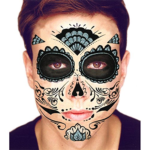 Black Glitter Skeleton Day of the Dead Temporary Face Tattoo Kit: Men or Women - 2 Kits