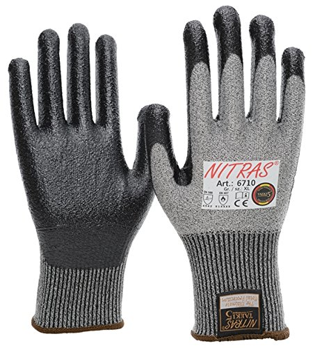 20 Paar NITRAS 6710 Schnittschutzhandschuhe Taeki5, Stufe 5, Nitril Beschichtung, schwarz/grau, Gr. S - XXL (XXL) (L) (XXL)
