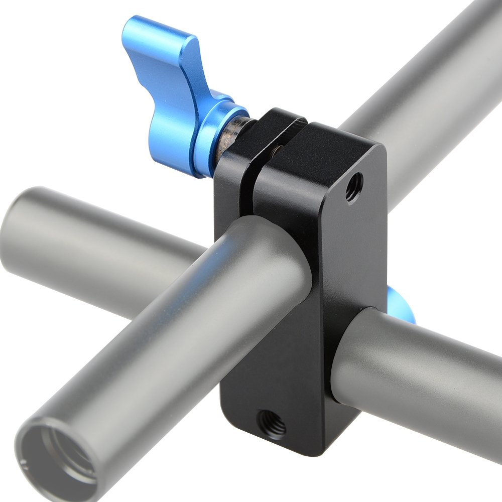 CAMVATE Right Angle Rod Clamp 15mm Rod 90 Degree Rotate for Video Camera DSLR Rig Blue