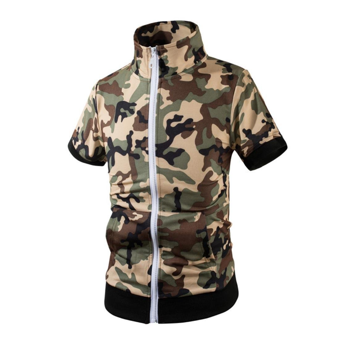 Summer New Men's Fashion Trend For Camouflage Short-Sleeved Wind Collar Sweater TZ007A green M