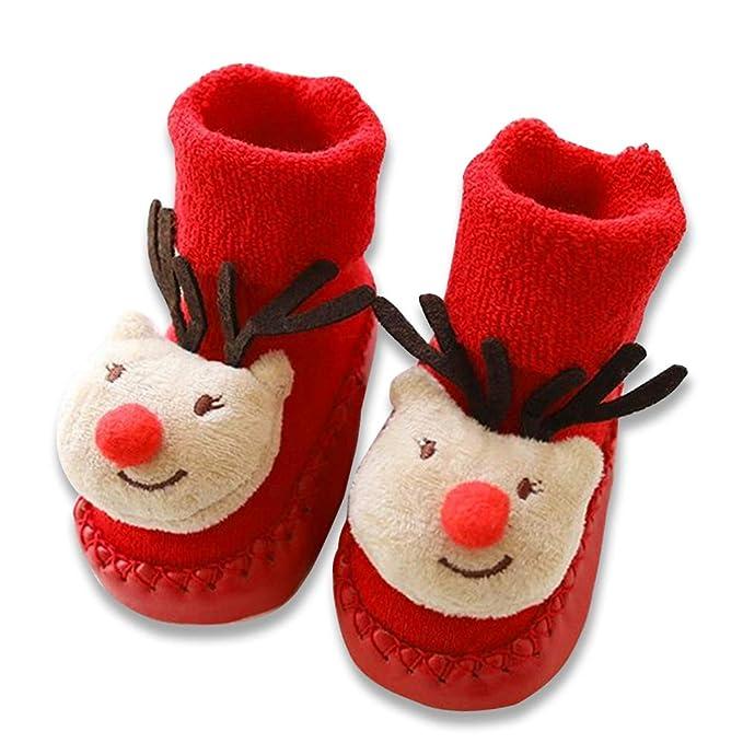 aiuxuan Bebé Navidad Calcetines de piso Navidad Papá Noel Ciervo Unisex Niños Algodón Antideslizante Calcetines (