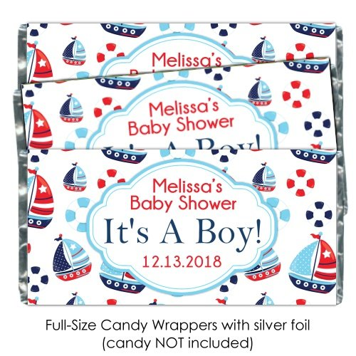 Baby Shower Candy Wrappers, It's A Boy, Cute Boats, Nautical Wrappers (25 (Announcement Candy Wrappers)