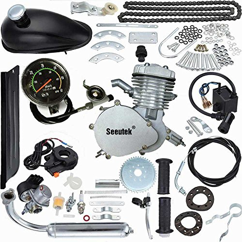 Seeutek PK80 80cc 2-Cycle Petrol Gas Engine Motor Kit with Angle Fire Slant Head for Motorized Bicycle Bike (Bike Cycle Motor compare prices)
