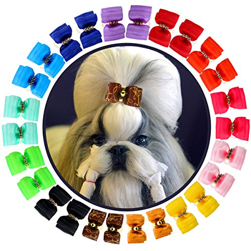YOY 24PCS / 12 Pairs Adorable Grosgrain Ribbon Pet Dog Hair Bows with Rubber Bands - Puppy Topknot Cat Kitty Doggy Grooming Hair Accessories Bow Knots Headdress Flowers Set for Groomer