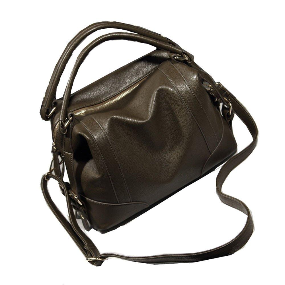 Ecokaki Women's PU Leather Travel Handbag Hobo Bag Shoulder Bag Sling Bag Cross Body Bag Dark Brown