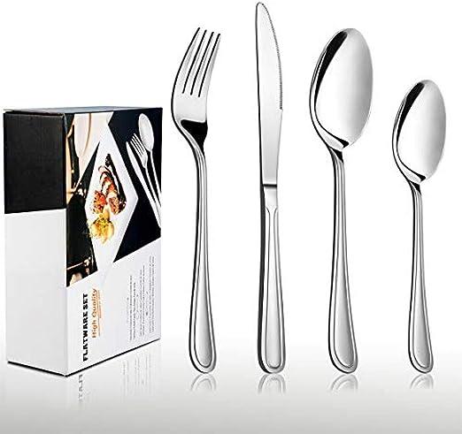 tableware-GQ Juego de Cubiertos de 32 Piezas Cubiertos clásicos de Acero Inoxidable Juegos de Cubiertos con Cuchillo Cuchara Tenedor Servicio para 8 Esmaltes de Espejo y lavavajillas: Amazon.es: Hogar