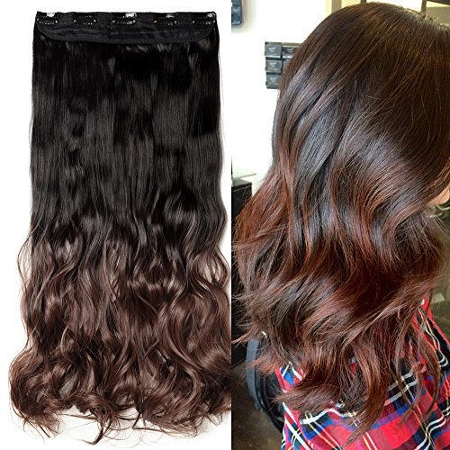 5 inches Clip in Hair Extensions One Piece Curly Wave Straight Black Blonde Brown Hair Extension(23