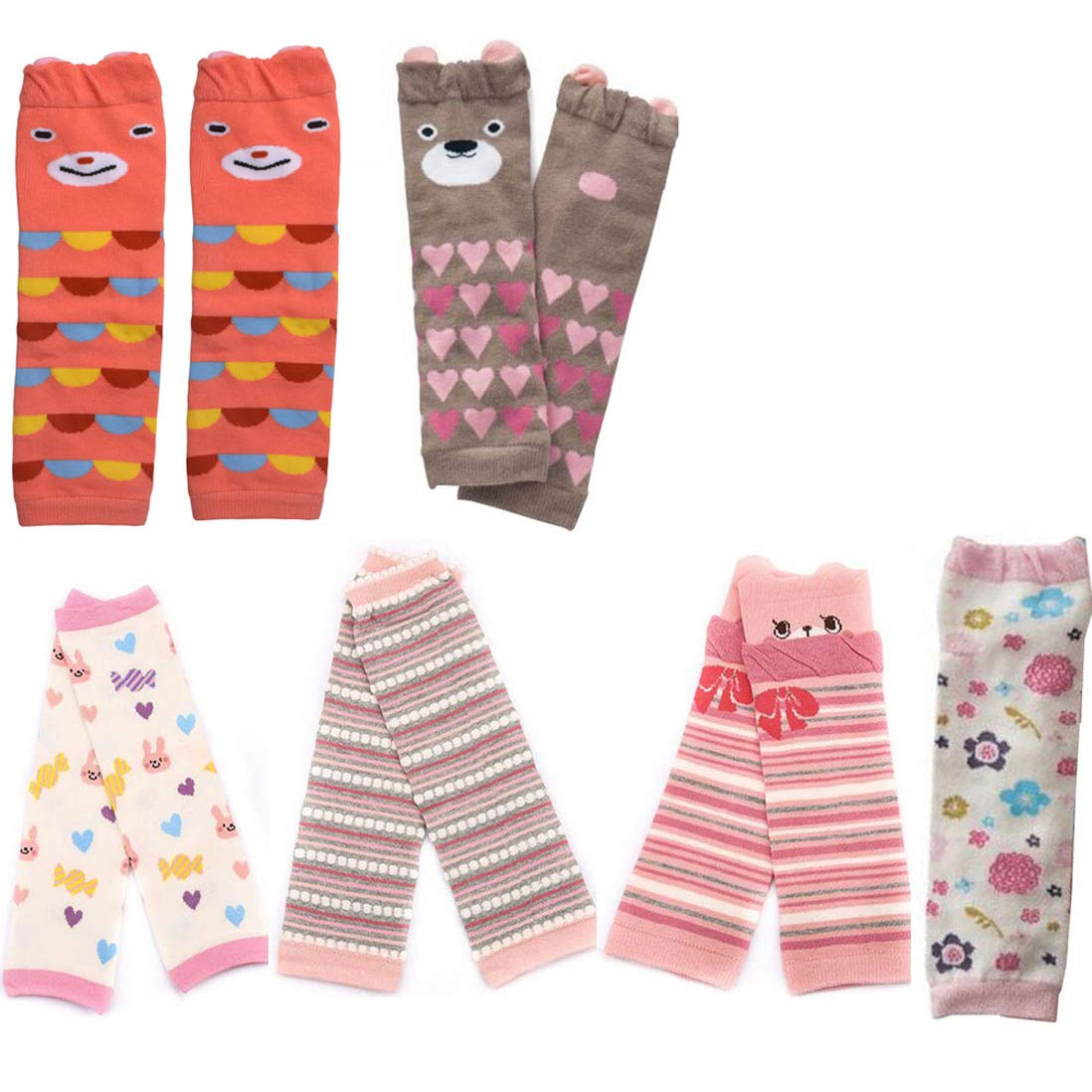 Lucky Staryuan 6-Pack Baby & Toddler Leg Warmers, Kneepads, Baby Shower Gifts (Girl Set)